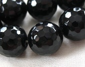 """LAST STRAND 14mm Micro Faceted Black Onyx Round Beads, large 14mm, full strand, 15.5"""""""