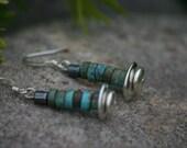 Navajo Turquoise Beaded earrings, Earrings, dangle earrings, sterling earrings