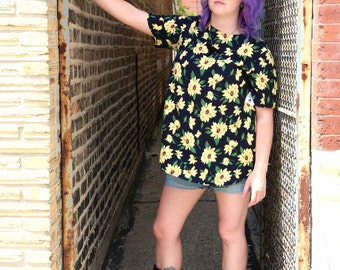 Vintage Black and Yellow Sunflower Top