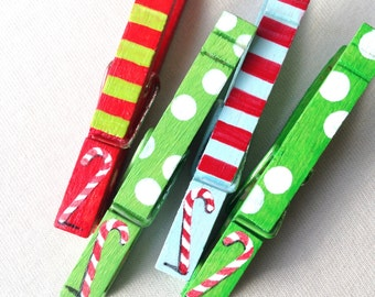 CANDY CANES CLOTHESPINS red green light blue striped Christmas painted magnetic clothespin set