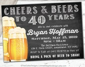 Cheers and Beers Invitation - Male Birthday Invitation - Chalkboard Invitation - 40th birthday invitation