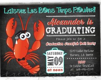 Toddler Graduation Invitations - Crawfish Boil Invitation - Graduation Boil Party - Chalkboard - Printable