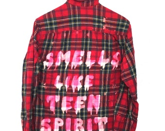 "Nirvana Flannel Shirt, ""Smells Like Teen Spirit"" Red Plaid. Green acid song lyrics kurt cobain 90s grunge hipster apparel dyed quote ooak"