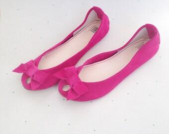 Ballet Flats Shoes Handmade Magenta Fuchsia Leather Peep Toe with Bow Ballerinas