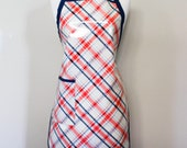 Womens Waterproof Apron Crafters Apron in Cream and Coral Plaid