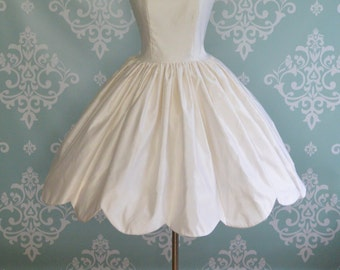 Wedding Dress Tea Length BUTTERCUP Silk Scallop Hem Short