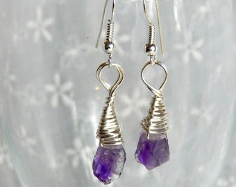 Raw Amethyst Drop Earrings, Small Raw Amethyst Earrings, Silver and Amethyst Earrings, Raw Amethyst Stones, February Birthstone Earrings
