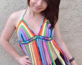 Rainbow Halter Top - Crochet Top - Fringe Top - Festival Top - Bikini Top - Hippie Top -  Bohemian - Summer Fashion
