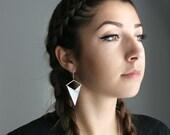 Modern Triangle Shape Criss Cross Style Geometric Design Earrings Sterling Silver Handmade