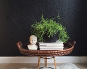 large vintage woven bamboo wicker rattan basket table tray with handles