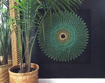 "24"" large original circle geometric metal string art sculpture / folk art"