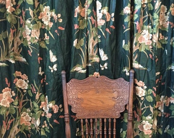 amazing heavy long dark green floral window curtain / one panel / 1 available