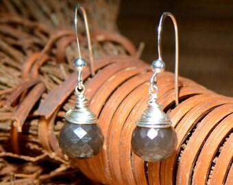 Gray Moonstone & Sterling Silver Earrings