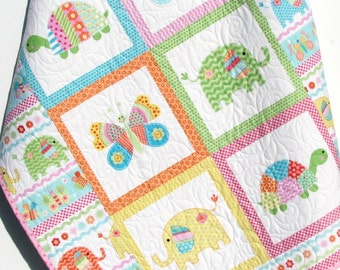 Baby Girl Quilt, Baby Blanket, Nursery Crib Bedding, Bundle of Love, Giraffe Turtles, Pink Yellow Blue Green, Modern Adorable Twin Bedding