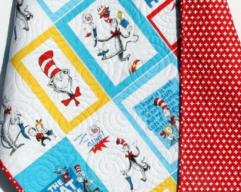 Cat In The Hat, Dr Seuss Quilt, Crib Bedding, Nursery Cot, Toddler Bed, Whimsy Modern, Child Youth Shower Gift Boy or Girl, Red Blue Yellow
