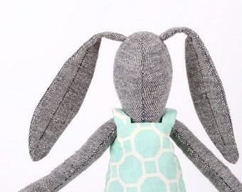 modern plush gray  woven silk rabbit doll ,stuffed bunny in mint geometric retro dress - plush bunny rabbit toy gift for girl baby shower