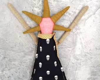 Modern rag doll ,summer gifts, Cloth Doll spikes art doll in black dress with skull, mustard tights , dotted collar. Timo handmade eco doll