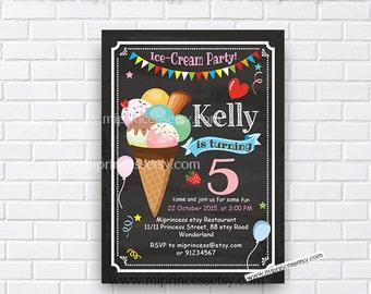 ice cream birthday invitation little girl 1st birthday invitation 2nd 3rd 4th 5th 6th 7th 8th 9th kids birthday chalkboard invite - card 717
