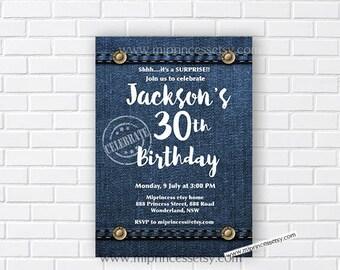Denim Birthday Invitation for any age, Jeans, Surprise 30th 40th 50th 60th 70th 80th 90th surprise birthday invitation - card 862