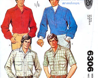 McCall 6306 Vintage 70s Sewing Pattern for Men's Shirt - Uncut - Size 42