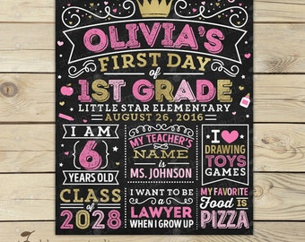 Girl First Day of School Sign - Princess Back to School Sign - Pink and Gold First Day of School Chalkboard Sign - 1st Day of 1st Grade Sign