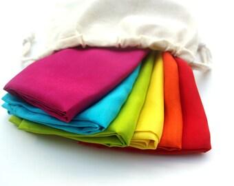 "Set of 35"" x 35"" Play Silks, Six Large Rainbow Playsilks Waldorf Montessori Inspired Toys"