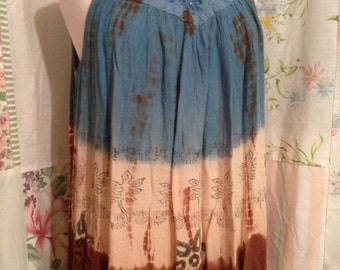 OPEN SIZE, Bohemian Hippie Flowerchild Tie Dyed Embroidered Blue and Brown Tunic  Top