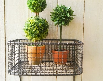 Chippy White Shabby Chic Wire Basket Lotion Holder Wall