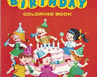 Happy Birthday Vintage Coloring Book, C1975