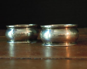 Two Vintage Sterling Silver Napkin Rings / Monogrammed Napkin Rings / Round Napkin Ring / Silver Napkin Holders / Andy / Pegs