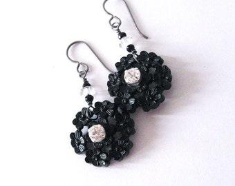 Upcycled Vintage Button Earrings, Black Flowers, White Rhinestone, Hypoallergenic Niobium Hooks