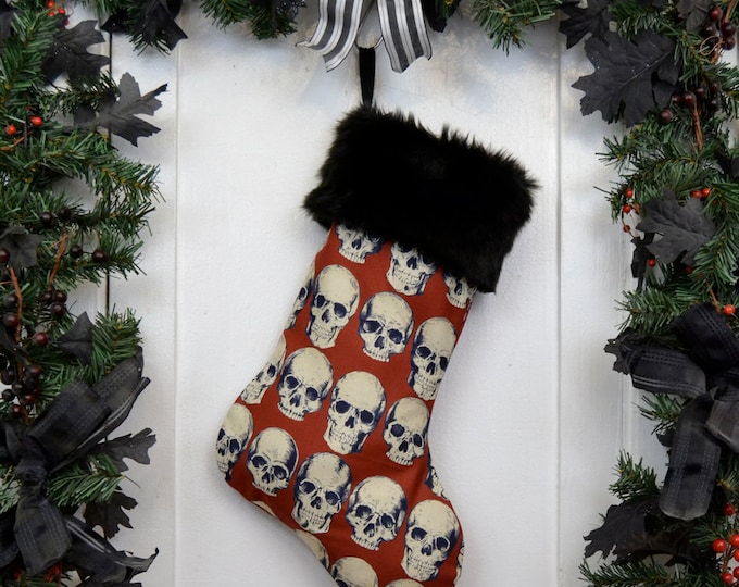 Goth Punk Christmas Stocking Realistic Anatomical Skull on Red with Black Faux Fur