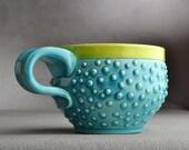 Dottie Mug Ready To Ship Caribbean Blue Dottie Soup / Cocoa Mug by Symmetrical Pottery