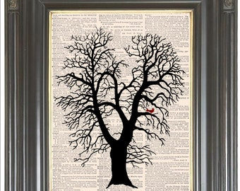 Winter oak tree with red cardinal COUPON SALE Print on Dictionary or sheet music Wall decor Digital print Dictionary art print Item No. 2048