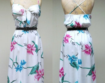 Vintage 1970s Dress / 70s White Rayon Tropical Floral Sun Dress / Small