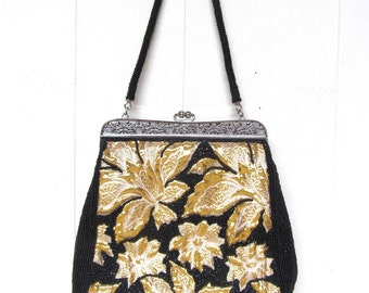 Vintage 1960s Purse / 60s Fancy Black Beaded Gold Woven Fabric Handbag