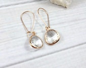 Rose Gold Earrings, Clear Earrings, Dangly Earrings, Dangle Earrings, Bridesmaid Earrings, Bridesmaid Gift, Wedding Earrings, Bridal Jewelry