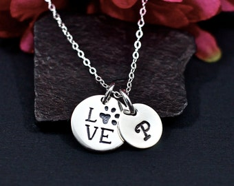 Personalized Paw Print Necklace   Love Paw Print Necklace   Love My Pet Necklace   Live Love Rescue   Gift from Pet   Personalized Pet
