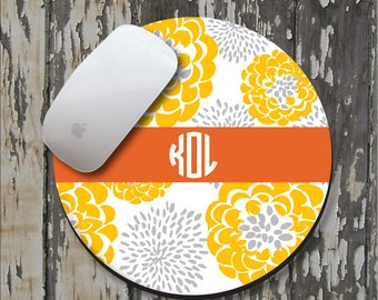 GOLDEN PEONY Personalized Mouse Pad, Personalize Mousepad, Monogrammed Mouse Pad, Monogrammed Mousepad, Custom Mouse Pad, Custom Mousepad