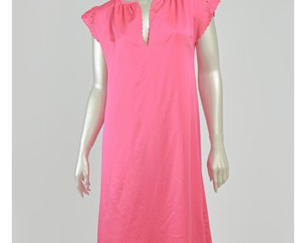 Vintage 70s Nightgown Hot Pink Nightgown Satin Nightgown 1970s Lingerie Cutwork Floral Embroidered Flutter Sleeve Nightie Long Nightgown (M)