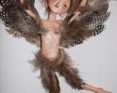 Sparrow Boy - Original OOAK mixed media sculpture mounted on canvas