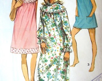 Vintage 1960s Simplicity Yoked Nightdress Baby Doll Bloomers Sewing Pattern Sz M Free UK Postage