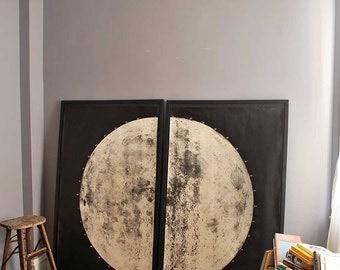Silver Lunar Hemisphere Maps Framed, Moon Map, Lunar Chart Silk Screen