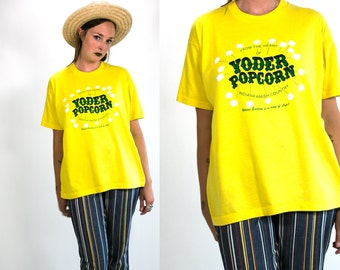 Vintage 1980's Yoder Popcorn Indiana Amish Country Kitsch Unisex Tee Shirt in Bright Yellow Cotton Size XL Retro Hipster
