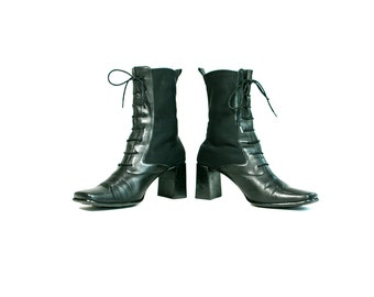 Vintage 1990's Me Too Brand Black Leather and Fabric Lace Up Tall Boots Hipster/Grunge Women's Size 8 1/2 US