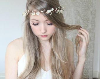 IVORY Delicate Flower Crown,  Flower Adornment, Bridal, Wedding headpiece, Destination Wedding, Flower Wreath, Rustic Wedding, Floral