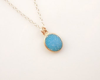 FLASH SALE : Bright Blue Druzy Necklace in Gold - OOAK Jewelry