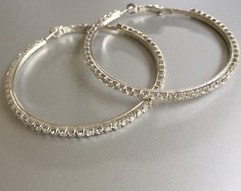 Large Silver and Crystal Hoop Earrings