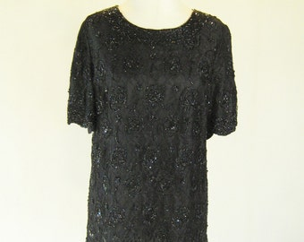 Candlelight Black Beaded Lacy Shirt Top 16W