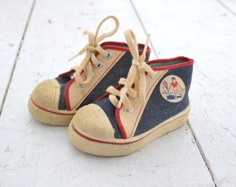 1960s Tiny Denim Baby High Top Sneakers